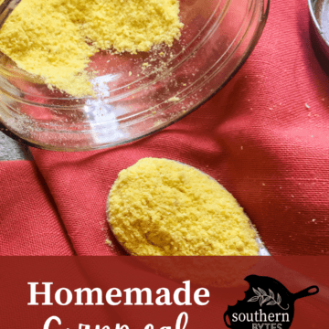 A jar of homemade cornmeal with overlay text.