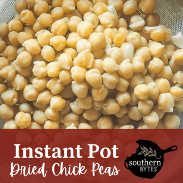 A strainer full of chickpeas with overlay text.