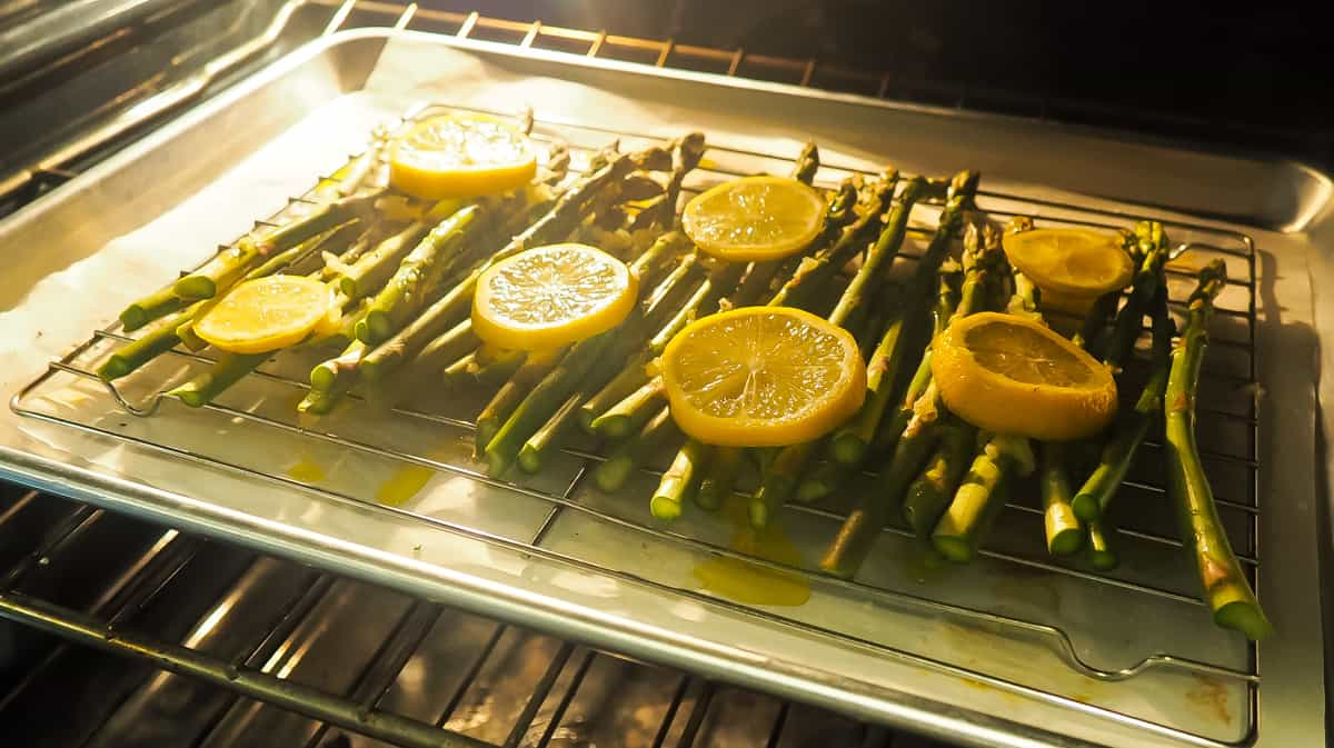 Lemon Asparagus roasting in the oven.