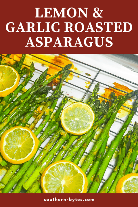 A pin image of lemon asparagus on a cooling rack.