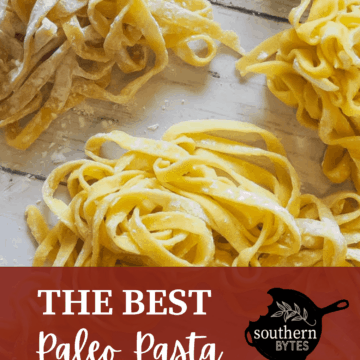 Piles of paleo pasta with text overlay