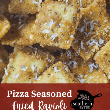 Fried ravioli with parmesan cheese sprinkled on top and overlay text.