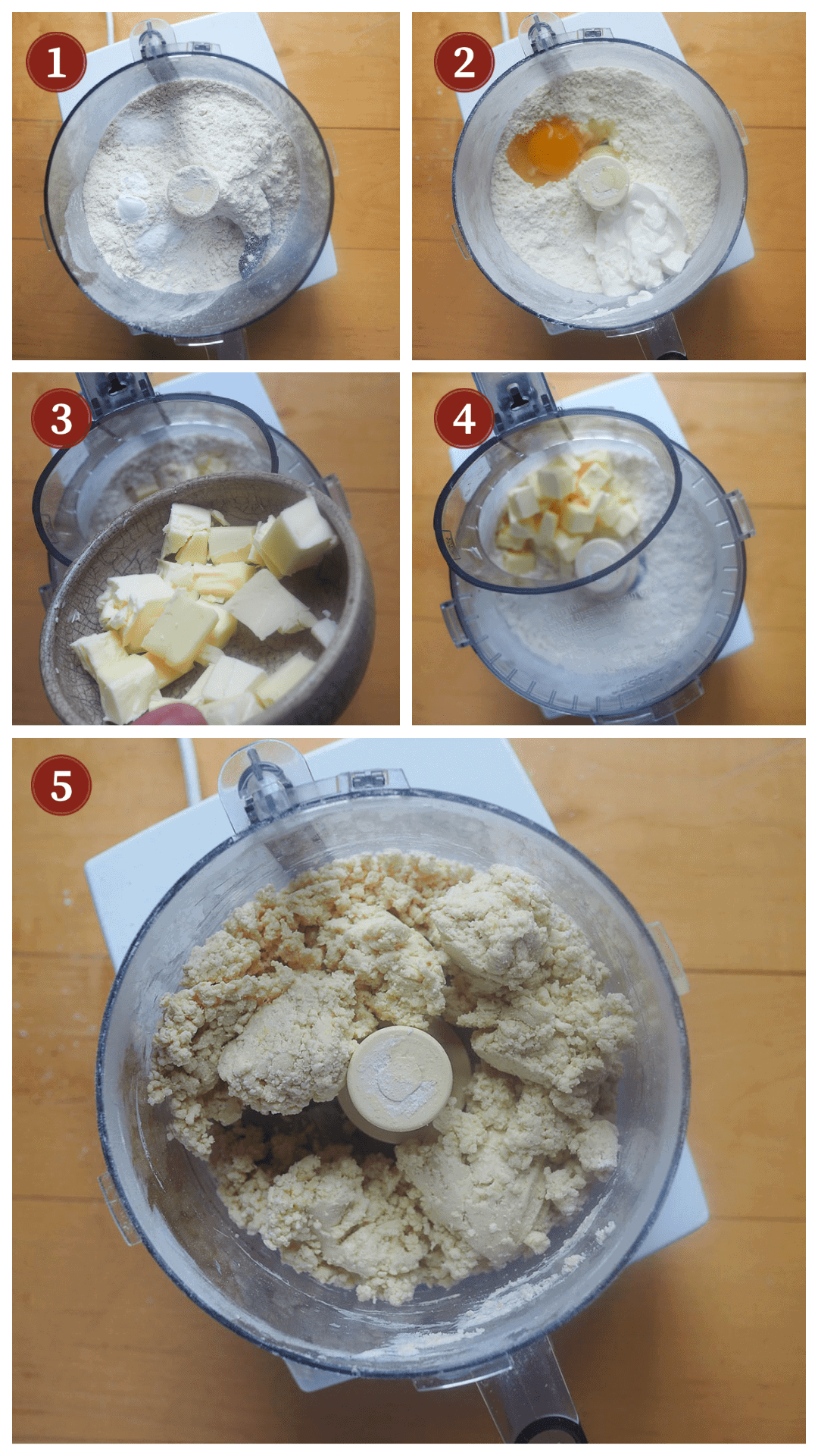 A collage of images showing how to make scones, steps 1 - 5.