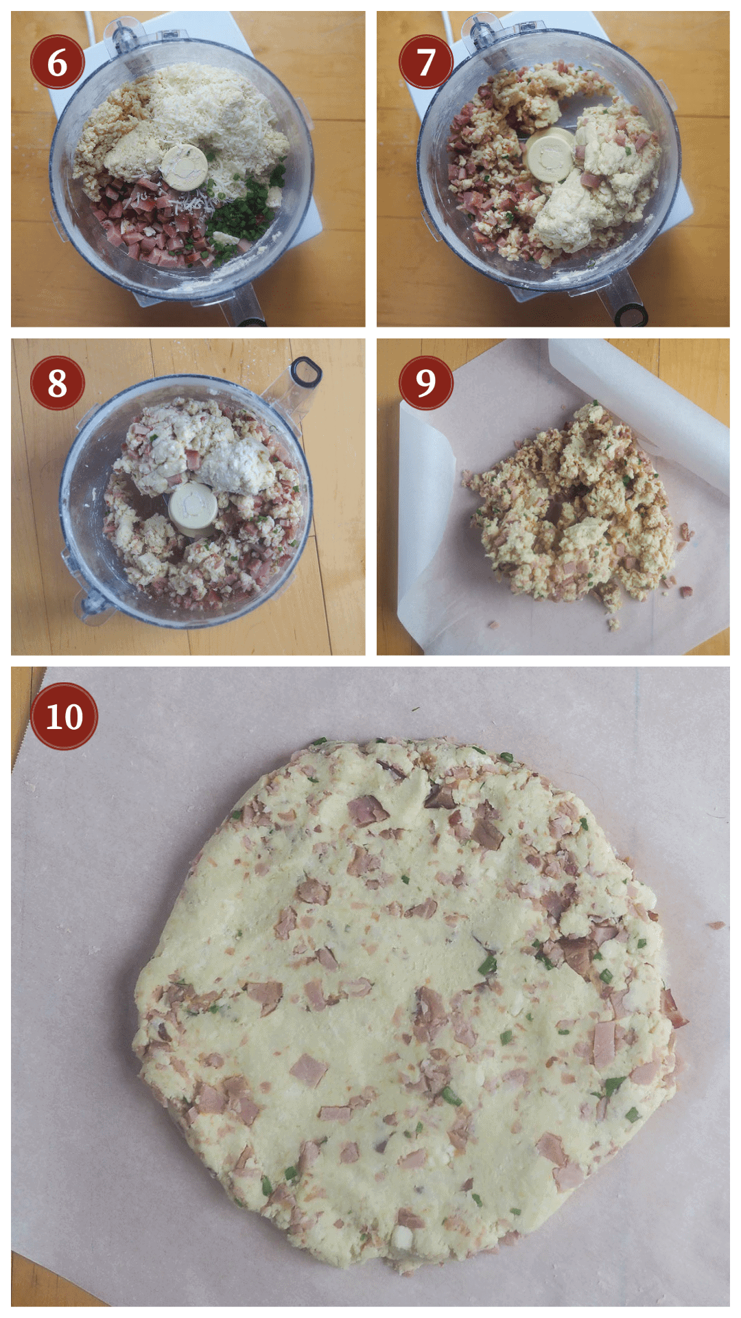 A collage of images showing how to make ham and cheese scones, steps 6 - 10.