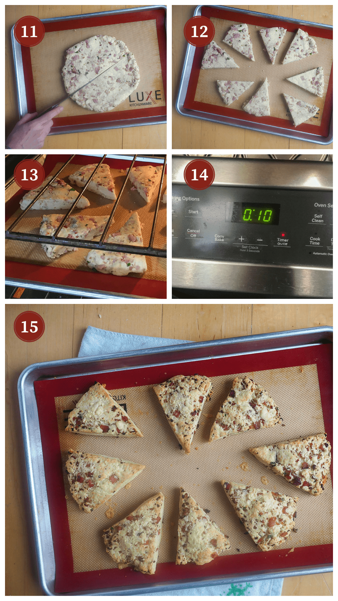 A collage of images showing how to make ham and cheese scones, steps 11 - 15.