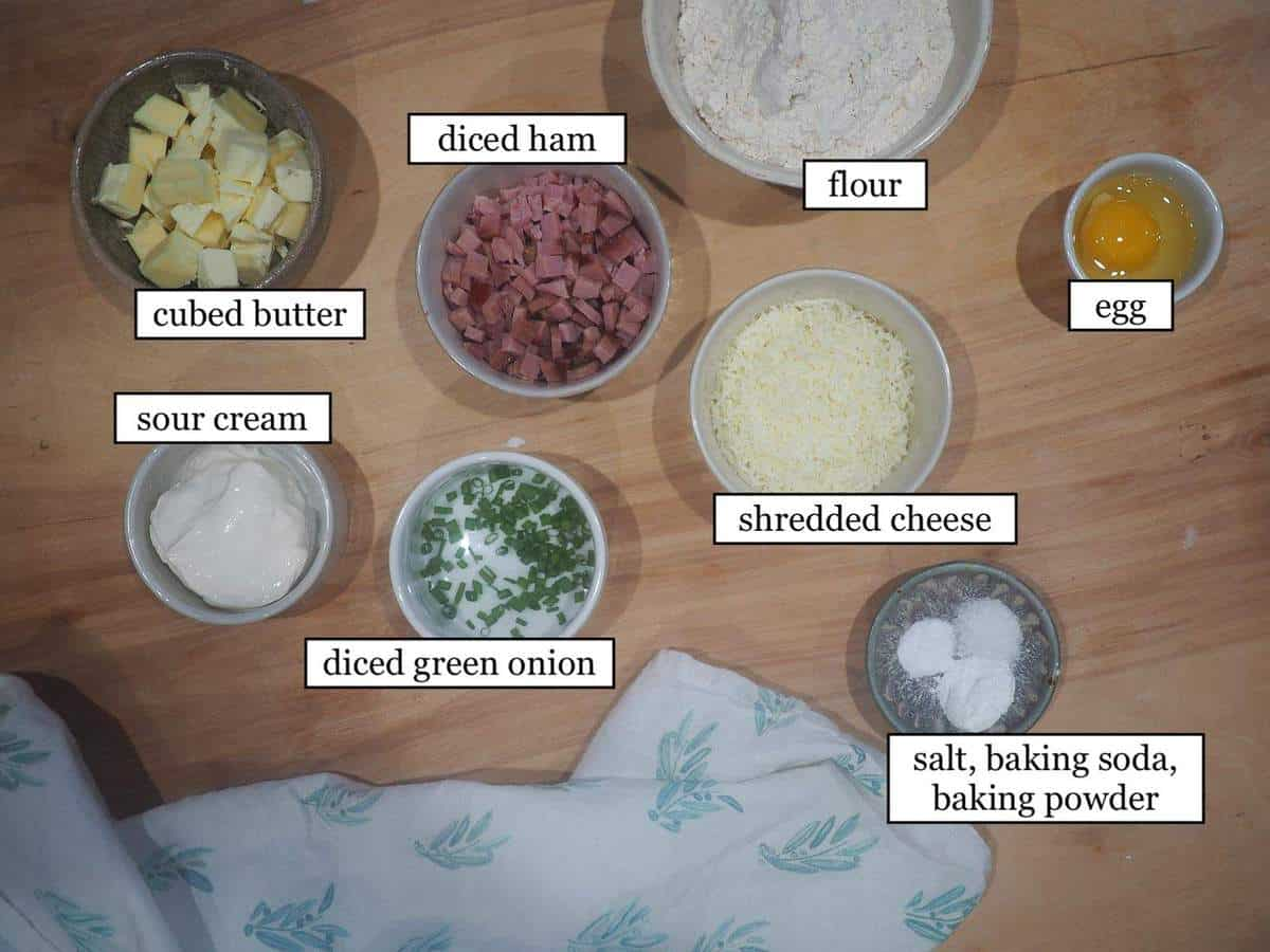 The ingredients in ham and cheese scones, laid out and labeled.