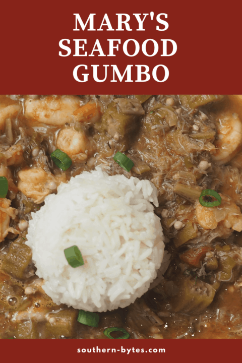 A pin image of a zoomed in picture of seafood gumbo.