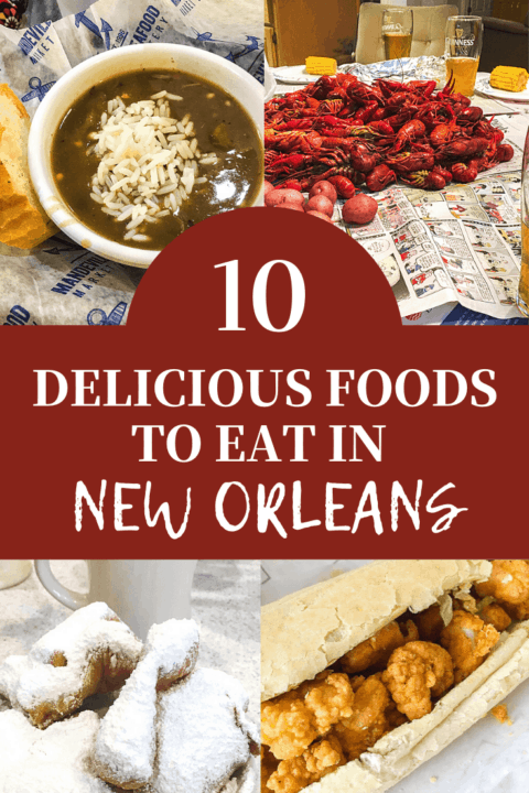 A pin image of food from New Orleans with overlay text.