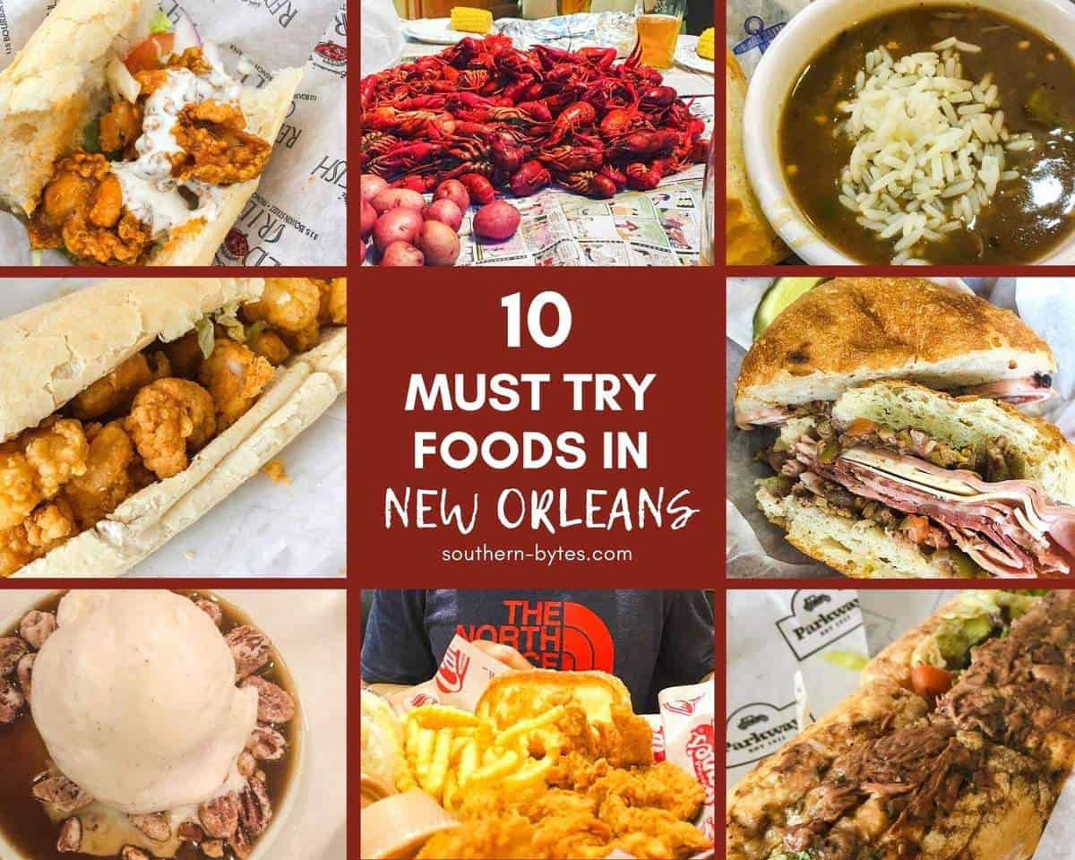 A collage of images of food from New Orleans with overlay text.