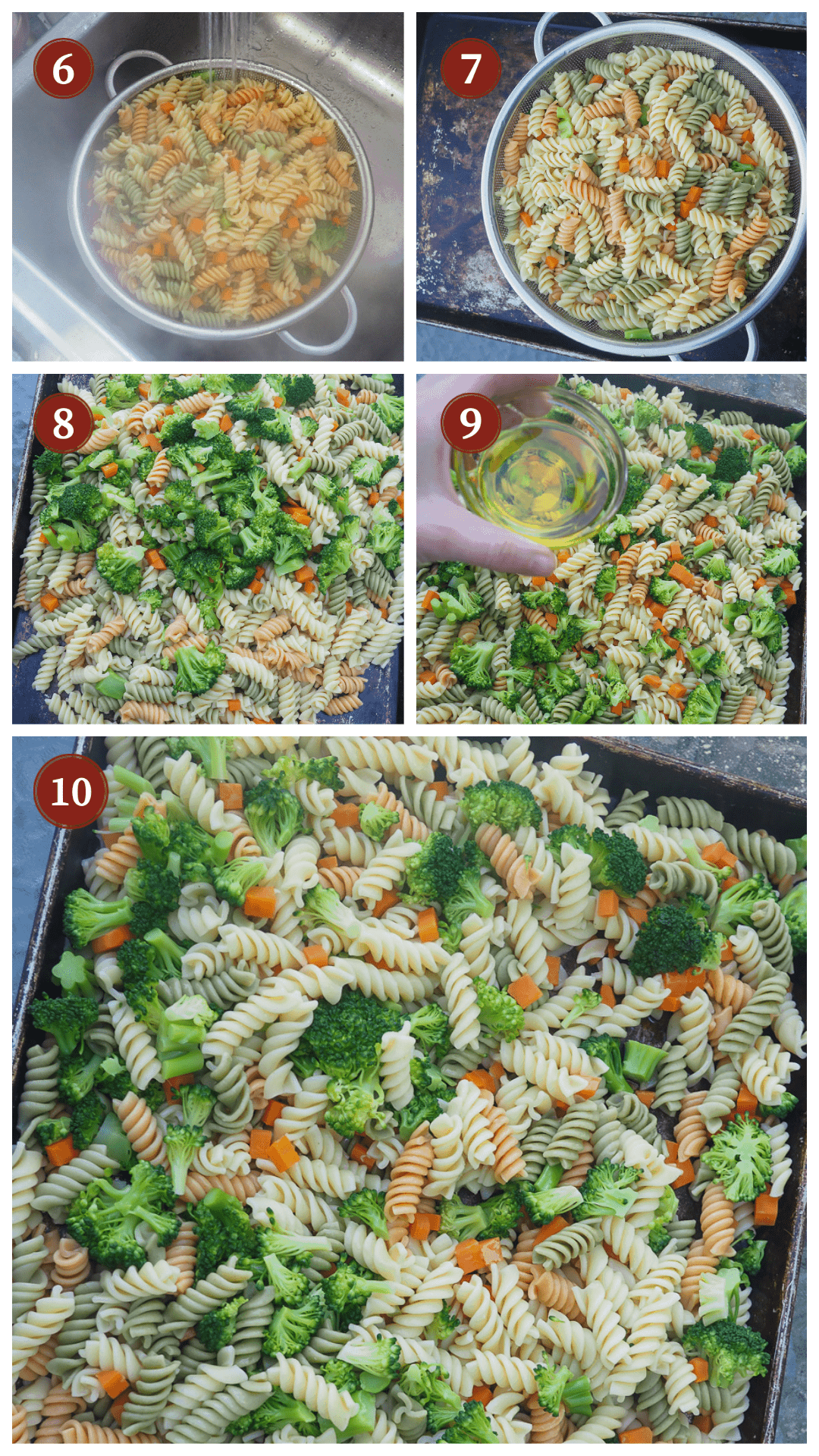 A collage of images showing hot to make pasta salad, steps 6 - 10.