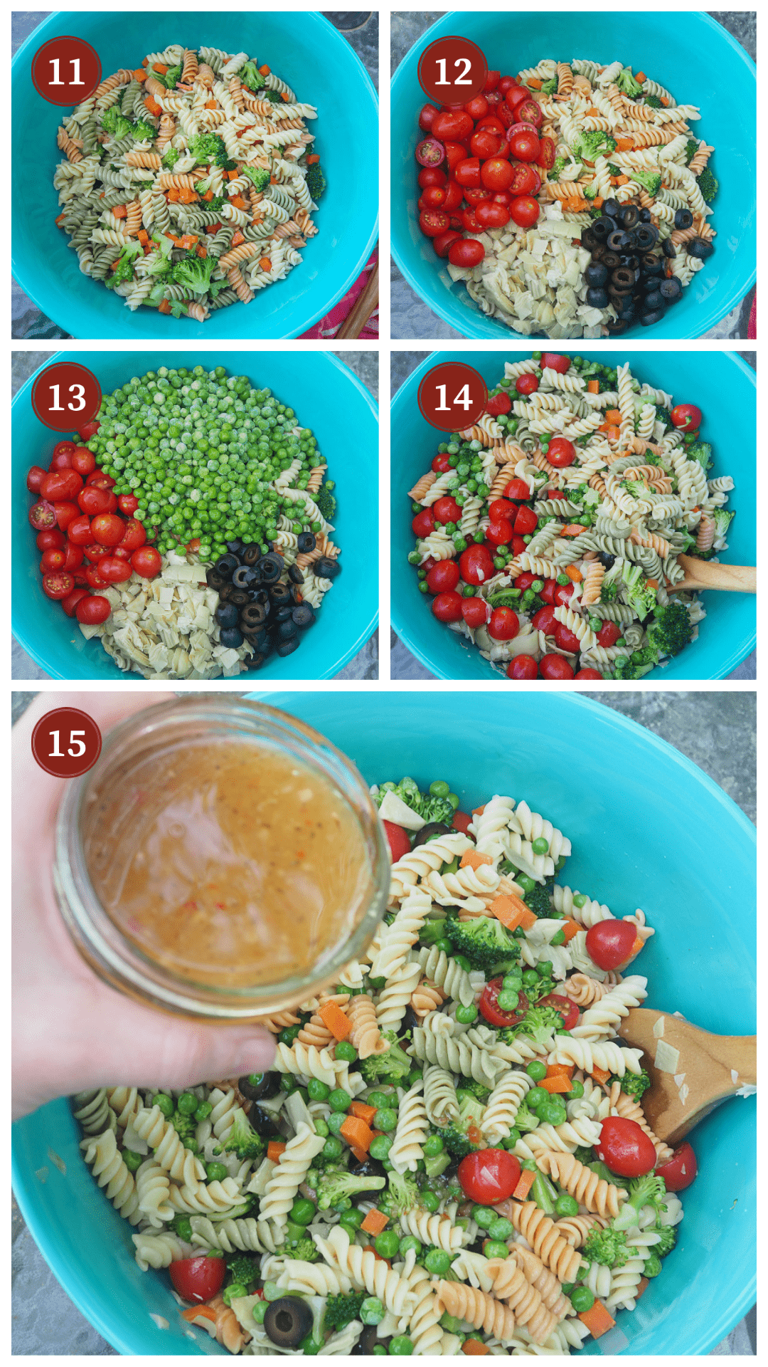 A collage of images showing hot to make pasta salad, steps 11 - 15.