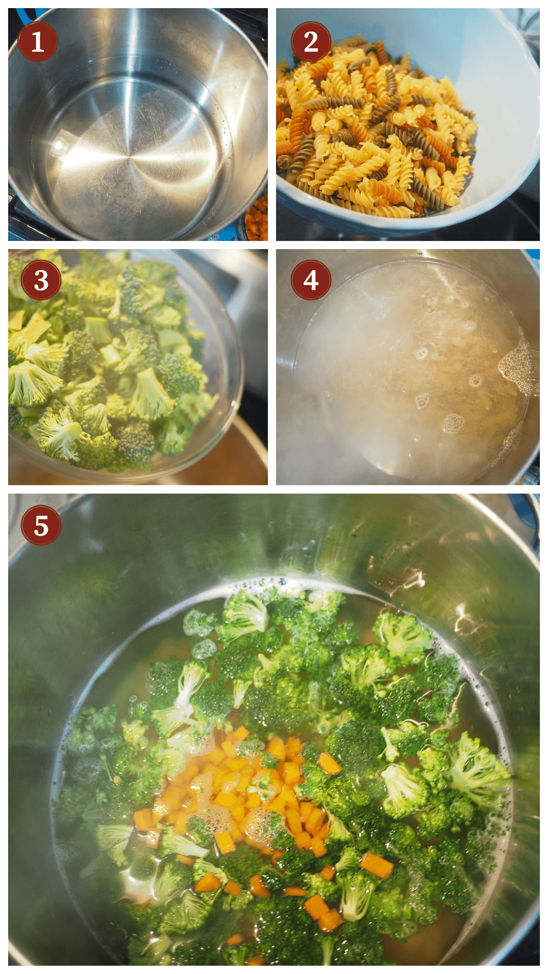 A collage of images showing hot to make pasta salad, steps 1 - 5.