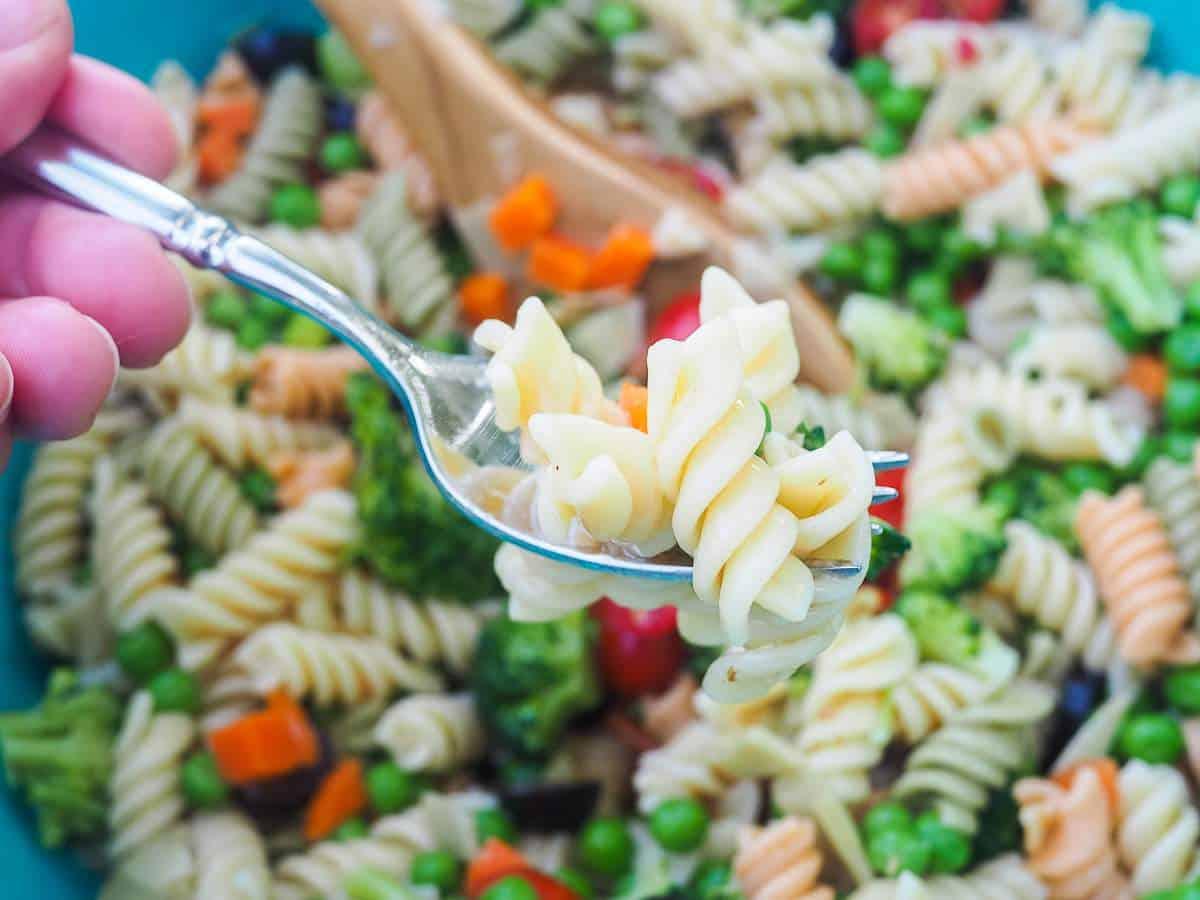 A bite of pasta salad on a fork.