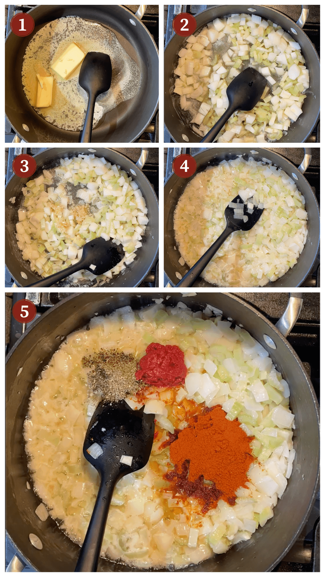 A collage of images showing how to make shrimp creole, steps 1 - 5.