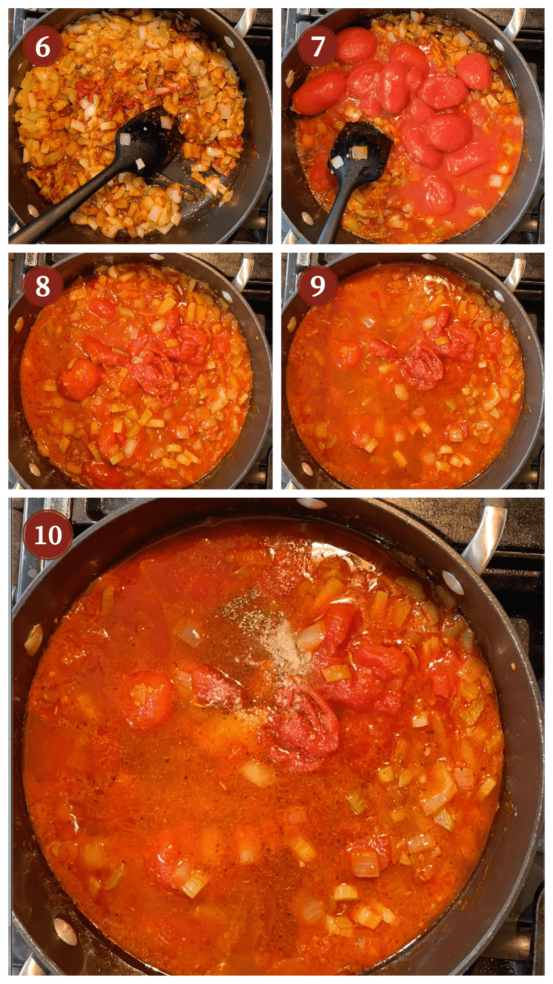A collage of images showing how to make shrimp creole, steps 6 - 10.
