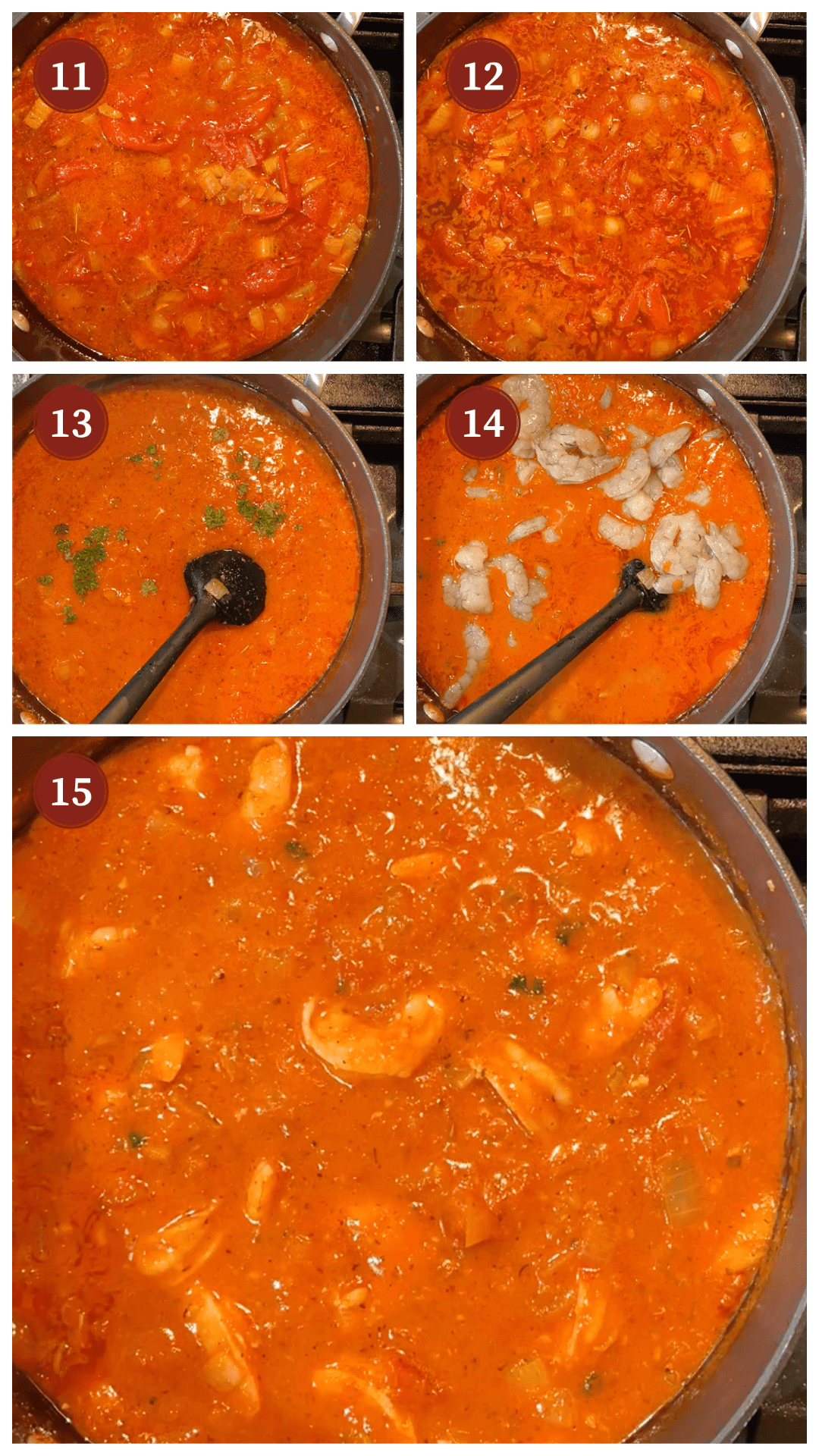 A collage of images showing how to make shrimp creole, steps 11 - 1 q5.
