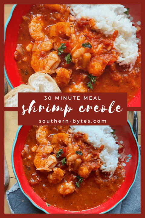 A pin image of two red bowls of shrimp creole with overlay text.
