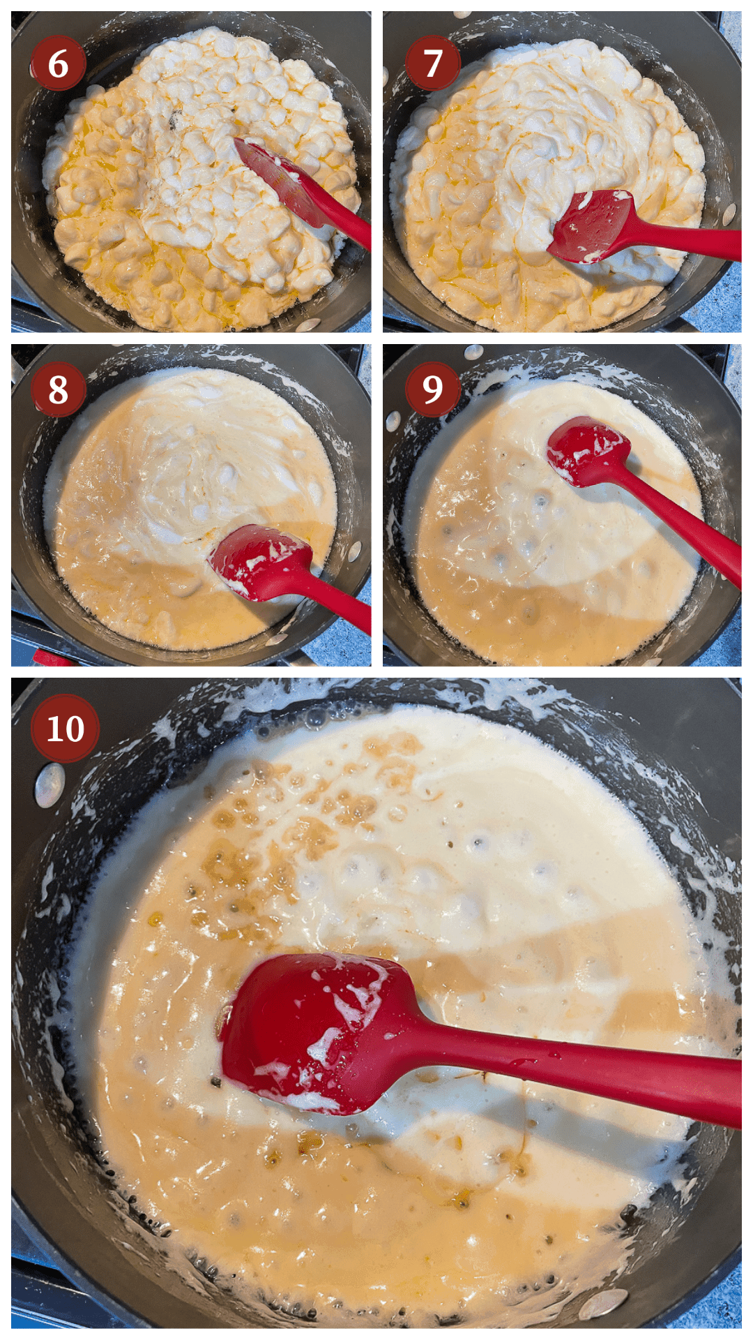 A collage of images showing how to make cinnamon toast crunch cereal treats, steps 6 - 10.