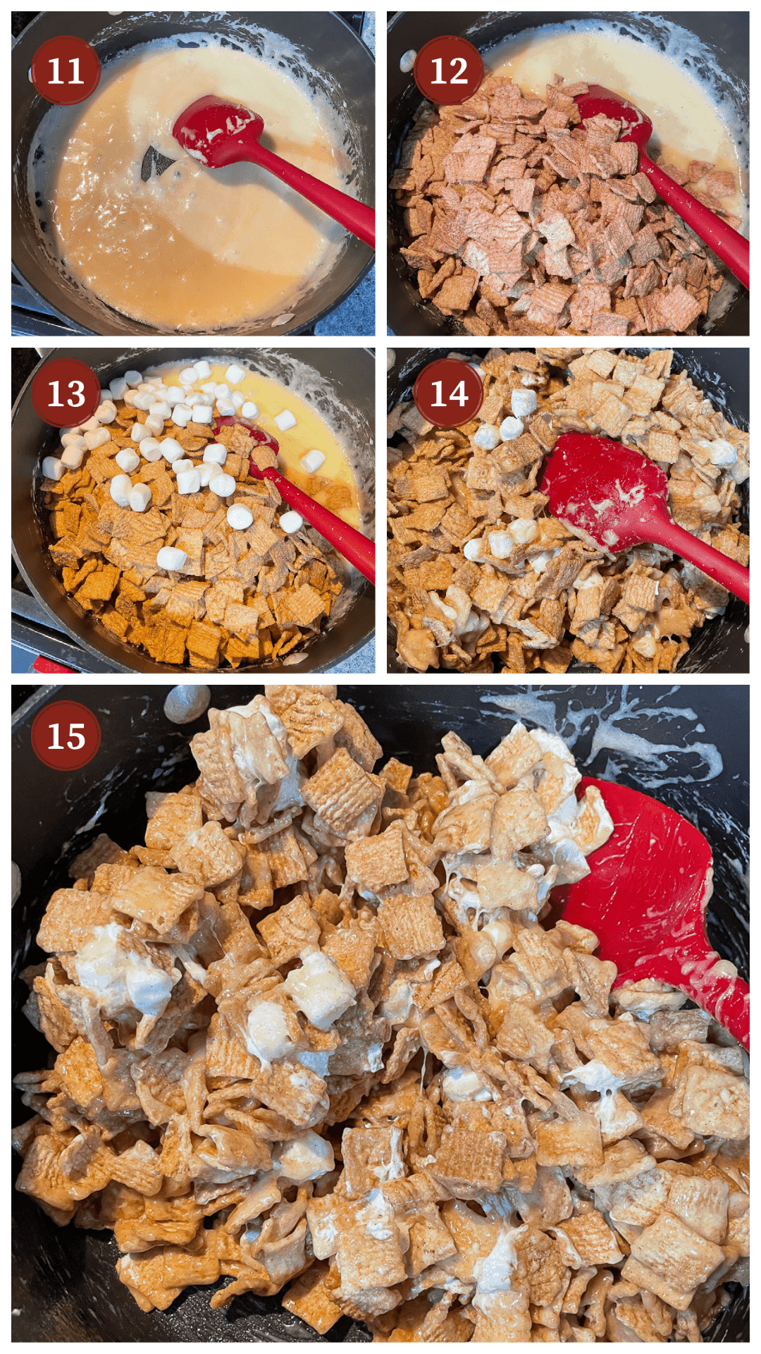 A collage of images showing how to make cinnamon toast crunch cereal treats, steps 11 - 15.