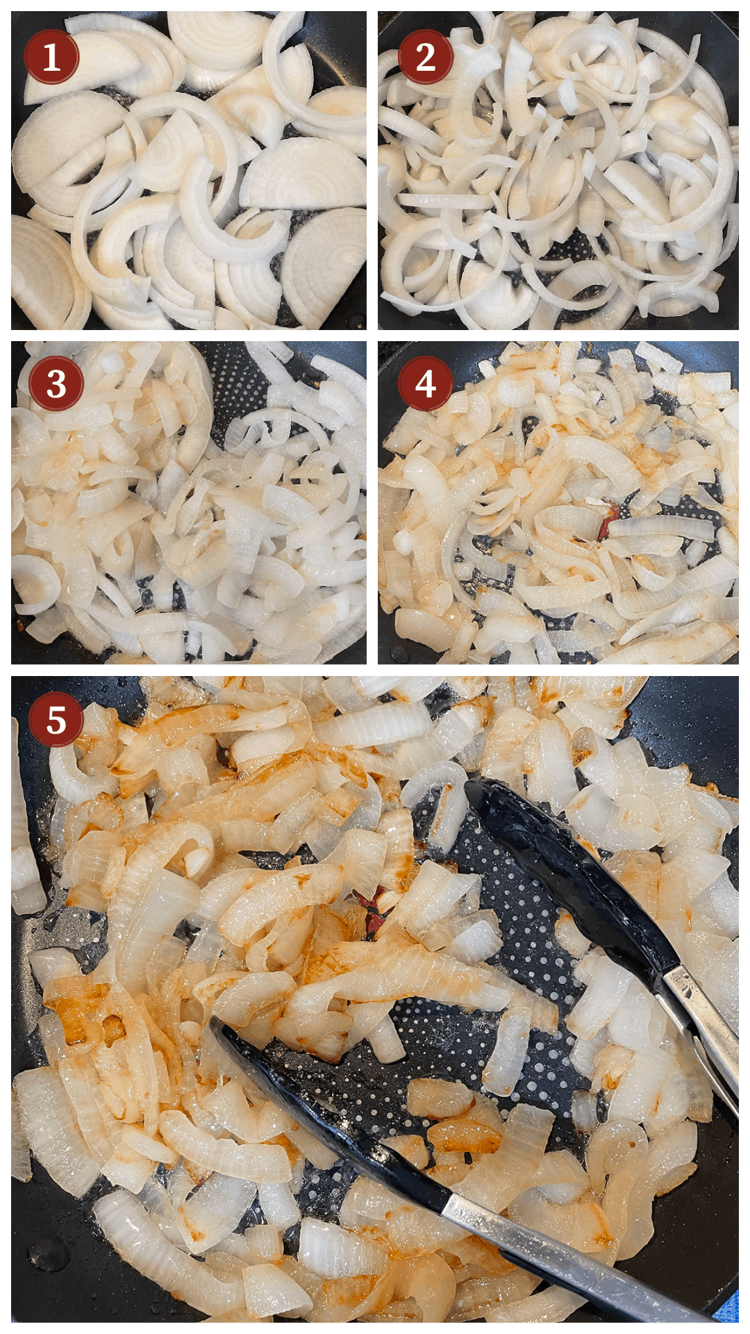 A collage of images showing how to fry onions, steps 1 - 5.