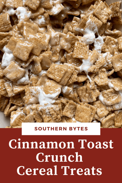 A pin image of Cinnamon Toast Crunch Cereal Treats before they are cut.