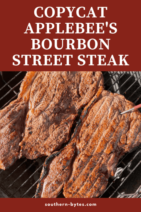 A pin image of two bourbon street steaks on a grill.