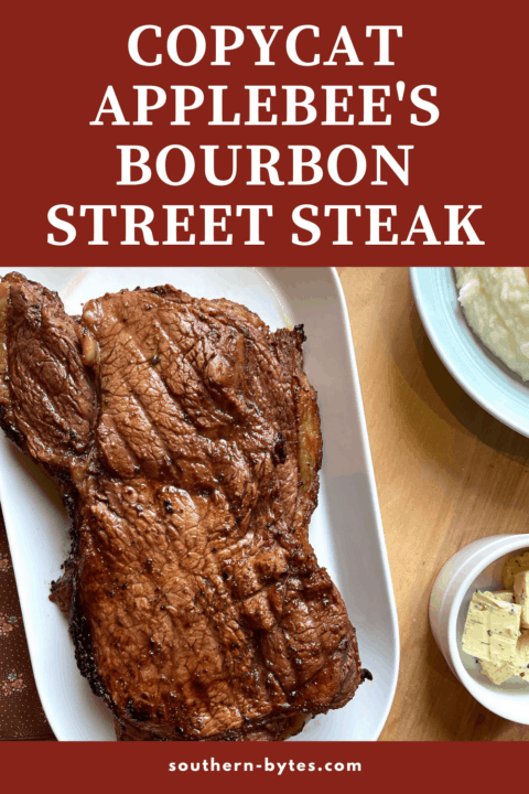 A pin image of a bourbon street steak on a white plate.