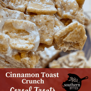 A cover image of a Cinnamon Toast Crunch Cereal Treat with a bite taken out.