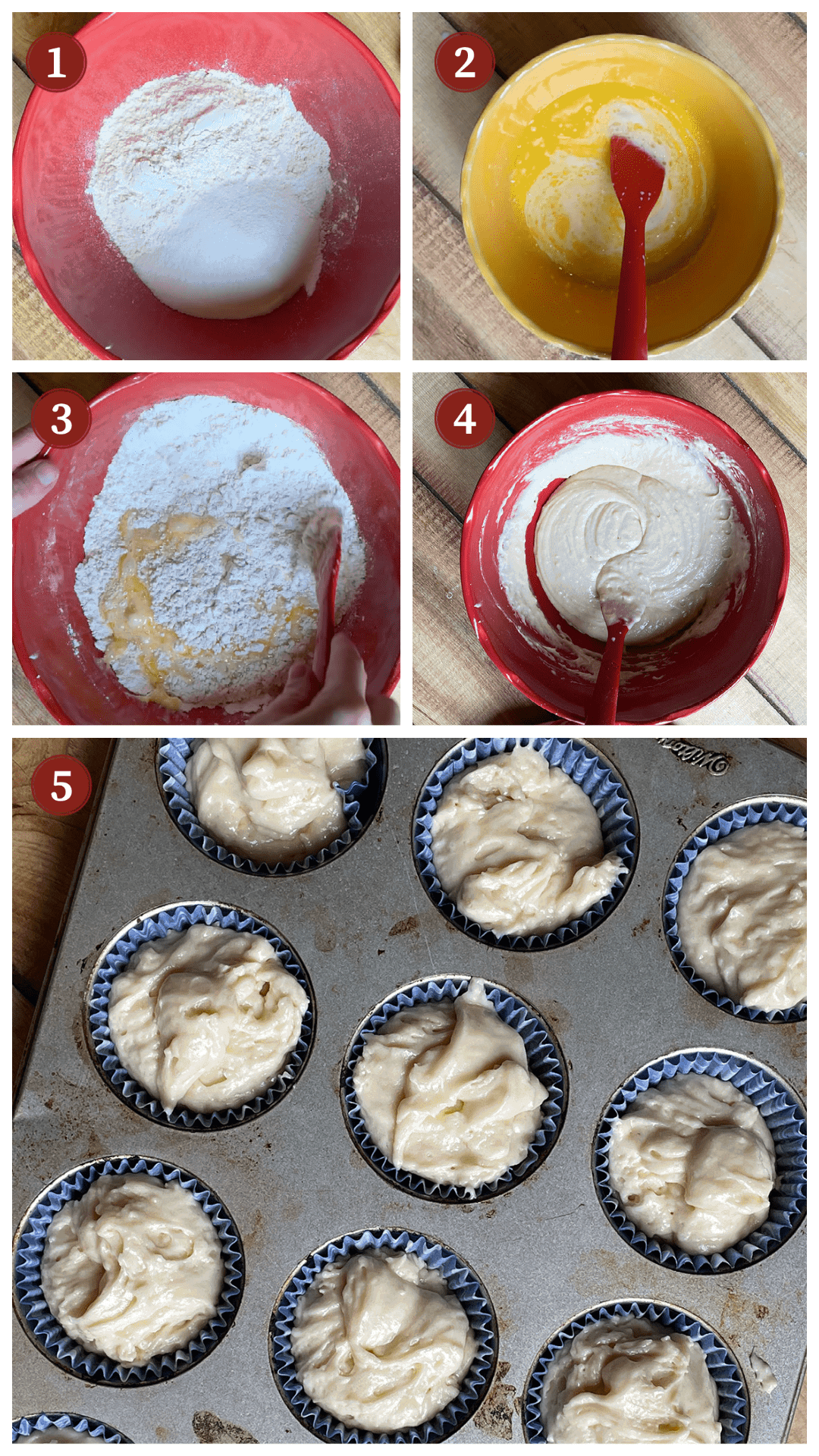 A collage of images showing the process of making buttermilk images, steps 1 - 5.