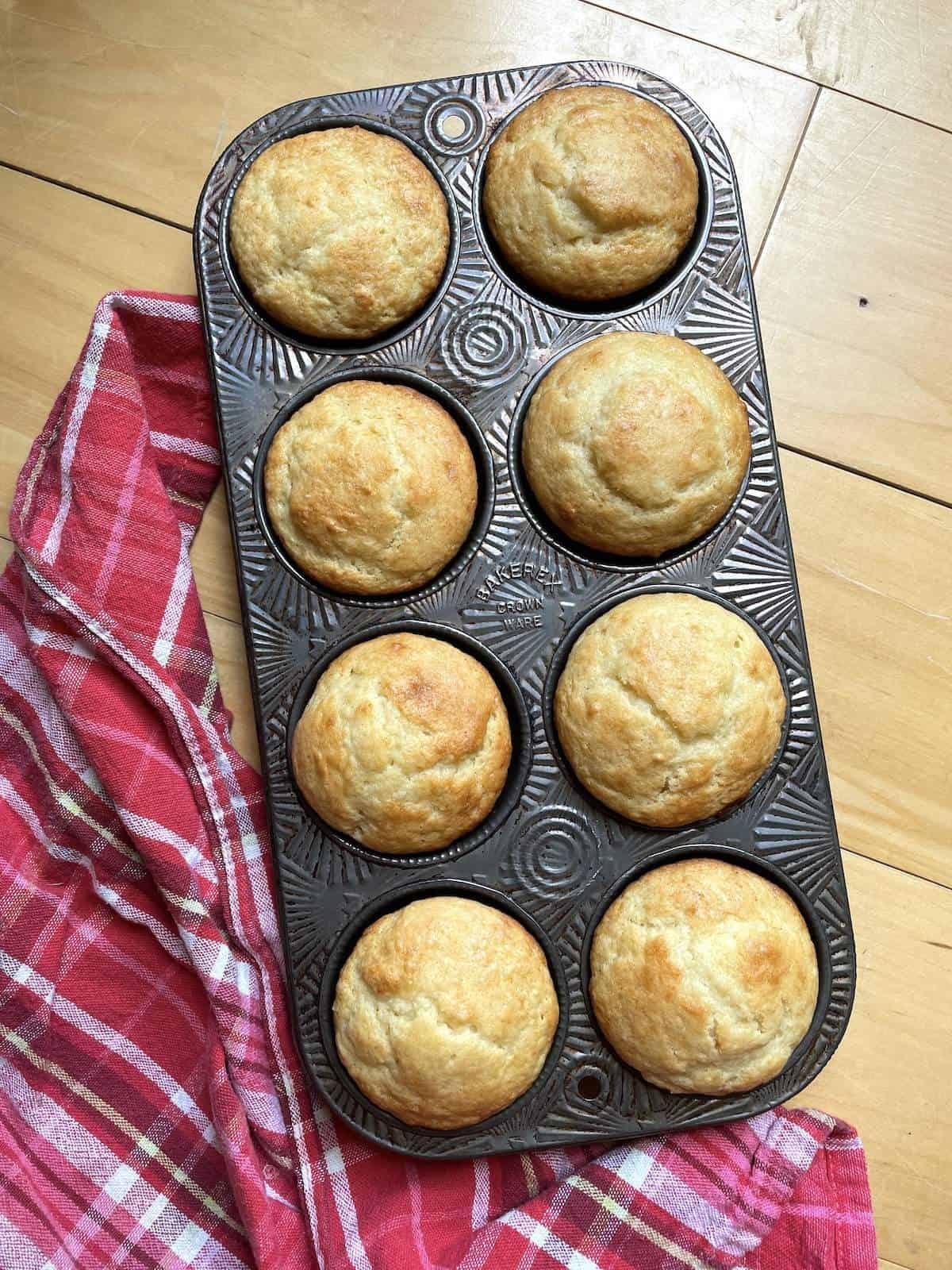 A pan of buttermilk muffins.