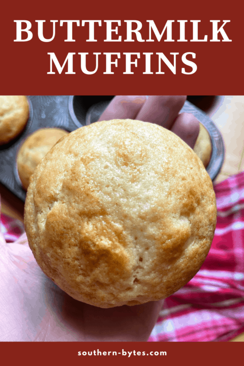 A hand holding a buttermilk muffin with overlay text.